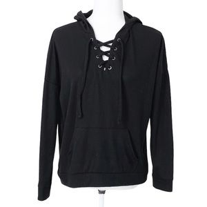 Pink Republic Ribbed Pullover Hoodie Lace Up Front